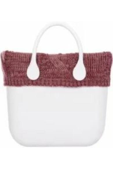 O bag classic gallér Lana Treccione kötött fonott mintával Bordeaux